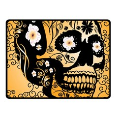 Sugar Skull In Black And Yellow Fleece Blanket (Small)