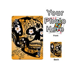 Sugar Skull In Black And Yellow Playing Cards 54 (Mini)