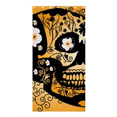 Sugar Skull In Black And Yellow Shower Curtain 36  X 72  (stall)