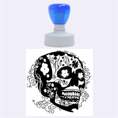 Sugar Skull In Black And Yellow Rubber Round Stamps (large)