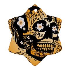 Sugar Skull In Black And Yellow Ornament (Snowflake)