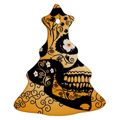 Sugar Skull In Black And Yellow Ornament (Christmas Tree)