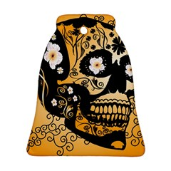 Sugar Skull In Black And Yellow Bell Ornament (2 Sides)