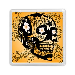 Sugar Skull In Black And Yellow Memory Card Reader (Square)