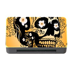 Sugar Skull In Black And Yellow Memory Card Reader with CF