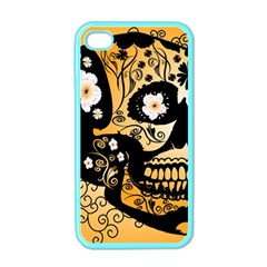 Sugar Skull In Black And Yellow Apple iPhone 4 Case (Color)