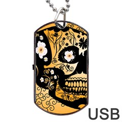 Sugar Skull In Black And Yellow Dog Tag USB Flash (Two Sides)