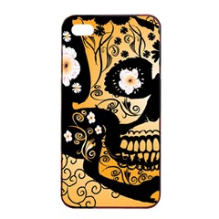 Sugar Skull In Black And Yellow Apple Iphone 4/4s Seamless Case (black)