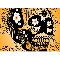 Sugar Skull In Black And Yellow Birthday Cake 3D Greeting Card (7x5)