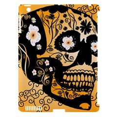 Sugar Skull In Black And Yellow Apple iPad 3/4 Hardshell Case (Compatible with Smart Cover)