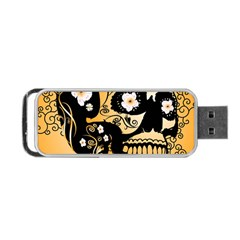 Sugar Skull In Black And Yellow Portable USB Flash (One Side)