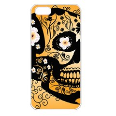 Sugar Skull In Black And Yellow Apple iPhone 5 Seamless Case (White)