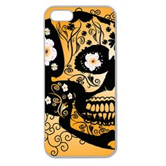 Sugar Skull In Black And Yellow Apple Seamless iPhone 5 Case (Clear)
