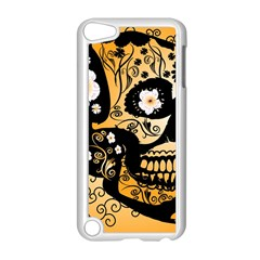 Sugar Skull In Black And Yellow Apple iPod Touch 5 Case (White)