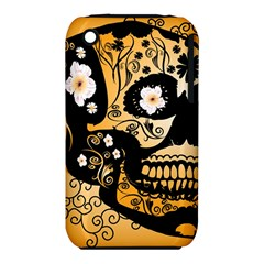 Sugar Skull In Black And Yellow Apple iPhone 3G/3GS Hardshell Case (PC+Silicone)