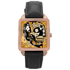 Sugar Skull In Black And Yellow Rose Gold Watches