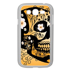 Sugar Skull In Black And Yellow Samsung Galaxy Grand DUOS I9082 Case (White)