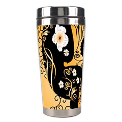 Sugar Skull In Black And Yellow Stainless Steel Travel Tumblers