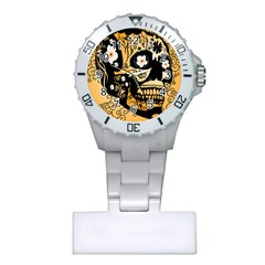 Sugar Skull In Black And Yellow Nurses Watches