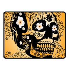 Sugar Skull In Black And Yellow Double Sided Fleece Blanket (small)
