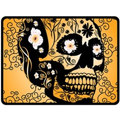 Sugar Skull In Black And Yellow Double Sided Fleece Blanket (Large)