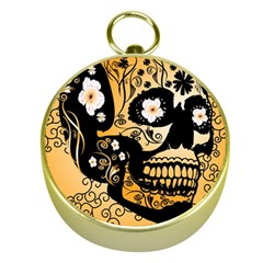Sugar Skull In Black And Yellow Gold Compasses