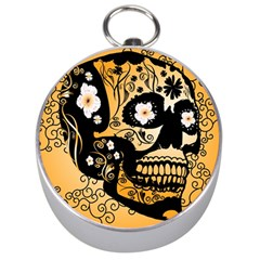 Sugar Skull In Black And Yellow Silver Compasses