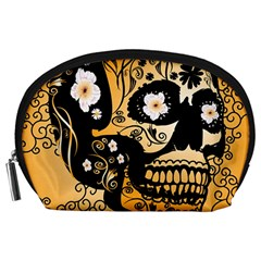Sugar Skull In Black And Yellow Accessory Pouches (Large)