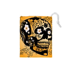 Sugar Skull In Black And Yellow Drawstring Pouches (Small)