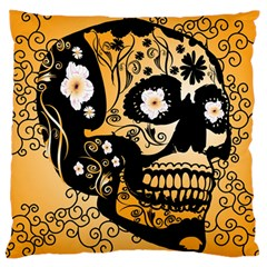 Sugar Skull In Black And Yellow Standard Flano Cushion Cases (Two Sides)