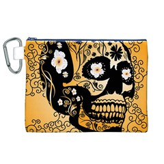 Sugar Skull In Black And Yellow Canvas Cosmetic Bag (XL)