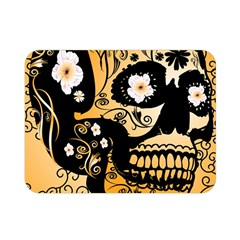 Sugar Skull In Black And Yellow Double Sided Flano Blanket (mini)