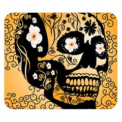 Sugar Skull In Black And Yellow Double Sided Flano Blanket (Small)