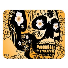 Sugar Skull In Black And Yellow Double Sided Flano Blanket (Large)