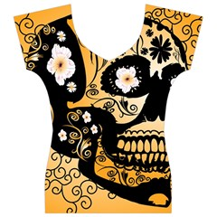Sugar Skull In Black And Yellow Women s V-Neck Cap Sleeve Top