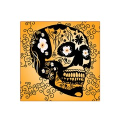 Sugar Skull In Black And Yellow Satin Bandana Scarf