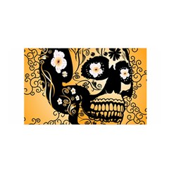 Sugar Skull In Black And Yellow Satin Wrap