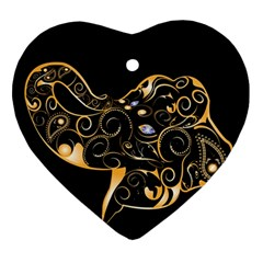Beautiful Elephant Made Of Golden Floral Elements Ornament (Heart)