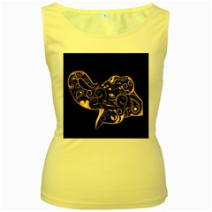 Beautiful Elephant Made Of Golden Floral Elements Women s Yellow Tank Tops