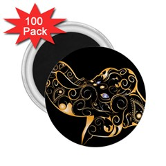 Beautiful Elephant Made Of Golden Floral Elements 2.25  Magnets (100 pack)