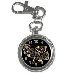 Beautiful Elephant Made Of Golden Floral Elements Key Chain Watches
