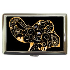 Beautiful Elephant Made Of Golden Floral Elements Cigarette Money Cases