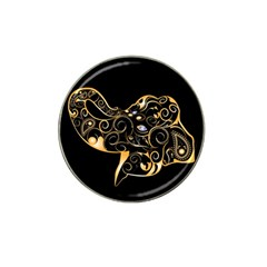 Beautiful Elephant Made Of Golden Floral Elements Hat Clip Ball Marker (4 Pack)