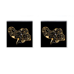 Beautiful Elephant Made Of Golden Floral Elements Cufflinks (Square)