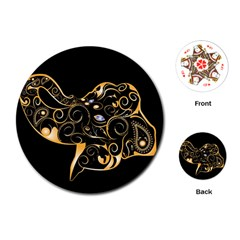 Beautiful Elephant Made Of Golden Floral Elements Playing Cards (round)