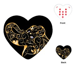 Beautiful Elephant Made Of Golden Floral Elements Playing Cards (Heart)