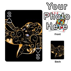 Beautiful Elephant Made Of Golden Floral Elements Playing Cards 54 Designs