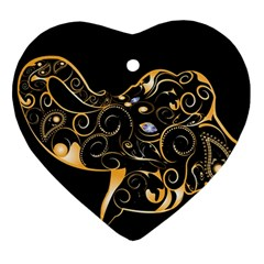 Beautiful Elephant Made Of Golden Floral Elements Heart Ornament (2 Sides)