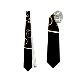 Beautiful Elephant Made Of Golden Floral Elements Neckties (Two Side)