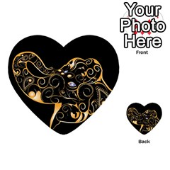 Beautiful Elephant Made Of Golden Floral Elements Multi Purpose Cards (heart)